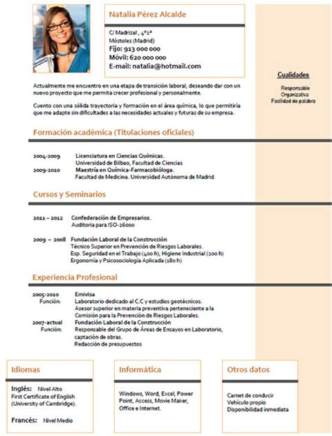 Modelo Curriculum España Descargar Curriculum Vitae De Ingenieros Ejemplos