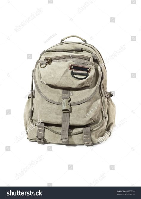 Canvas Travel Backpack White canvas backpack for travel isolated on white stock photo
