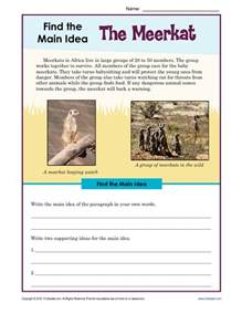 3rd or 4th grade main idea worksheet about the meerkat