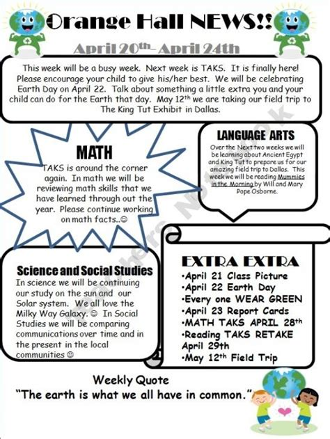 classroom newsletter template with exle 3rd 5th