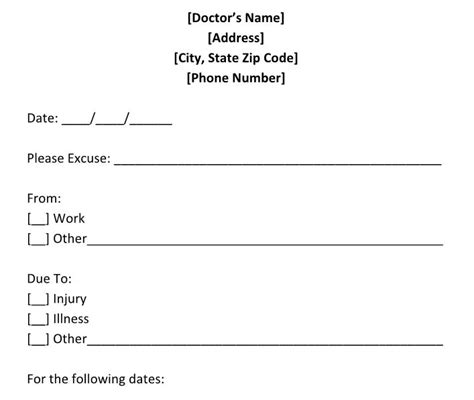 doctor note 27 free doctor note excuse templates free template