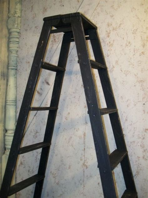 sided wooden 5 step ladder shelving frame