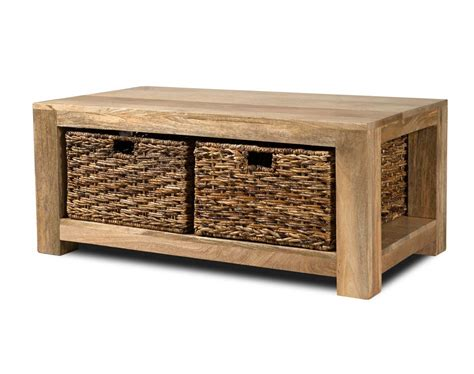 dakota light mango large coffee table with baskets casa