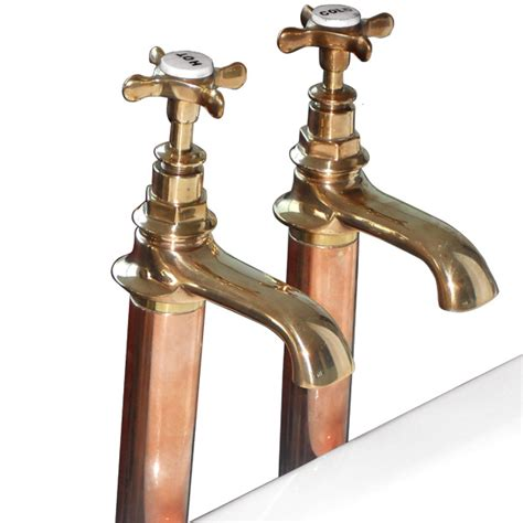 copper bathroom taps original bronze bath taps on copper standpipes with