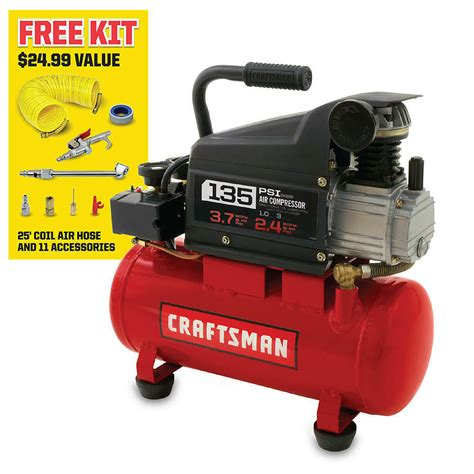 craftsman 3 gallon 1 0 hp lubricated air compressor 11 accessory kit ebay