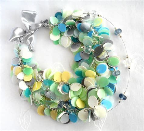 plastic bottle jewelry blue green white pastel statement necklace made of