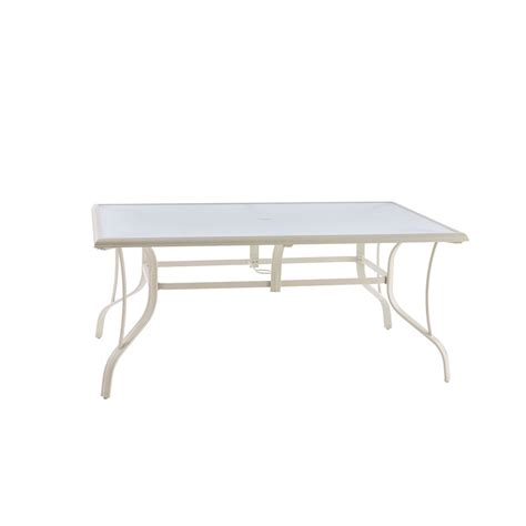 home depot dining table hton bay statesville shell rectangle aluminum outdoor