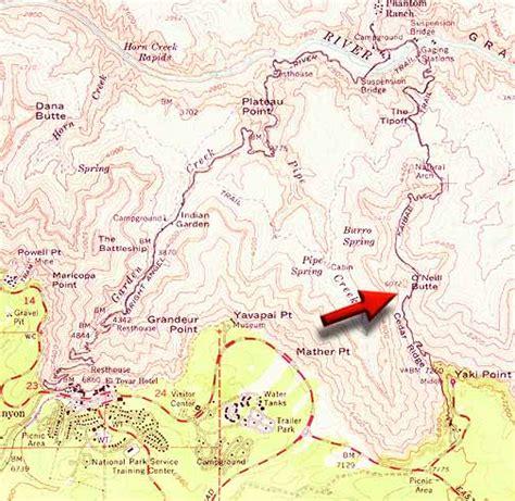 grand map colorado river hiking in the grand 2 hikers desertusa