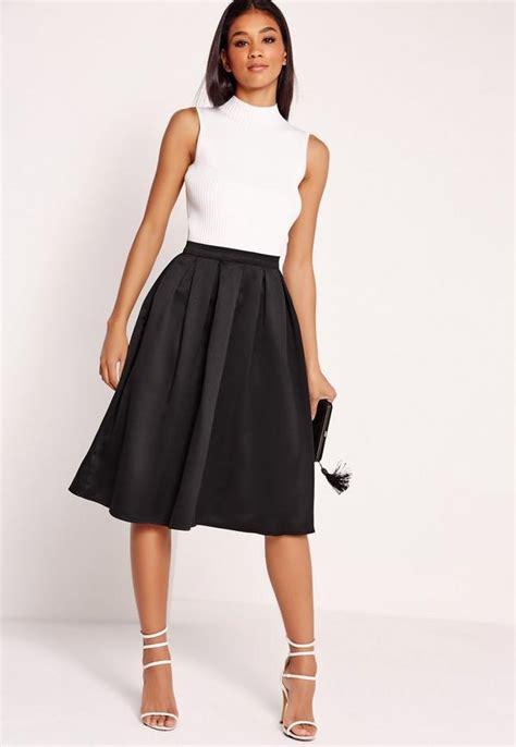 satin pleat waistband midi skirt black missguided