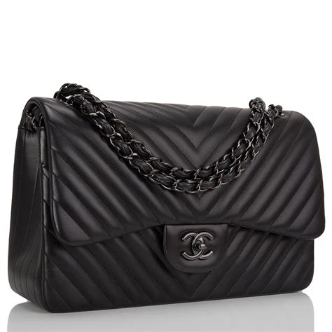 Channel Bag chanel so black chevron jumbo flap bag at 1stdibs