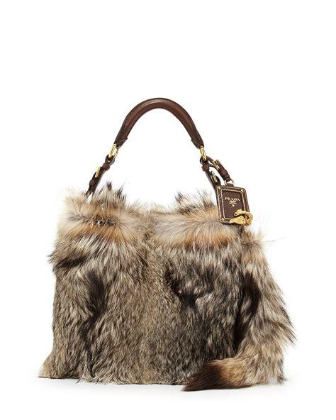 Prada Big Lambskin And Mink Handbag by Prada Fox Fur Hobo Bag In Brown Lyst