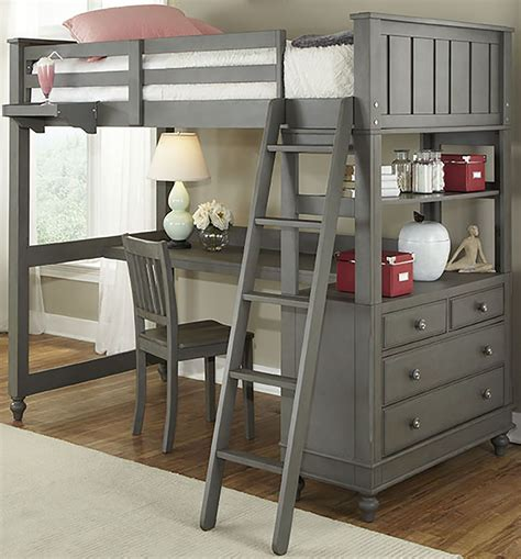 all in one bunk bed with desk lake house stone twin loft bed with desk from ne kids