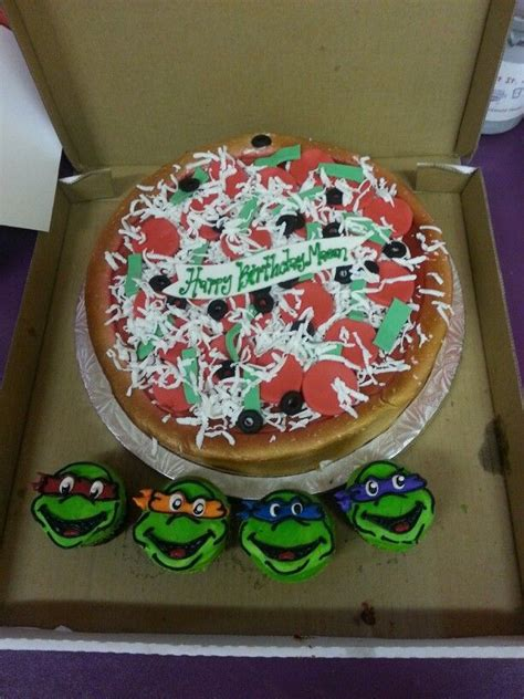 Ninja Turtles Cake Pizza With Cupcakes  Ee  Party Ee    Ee  Ideas Ee