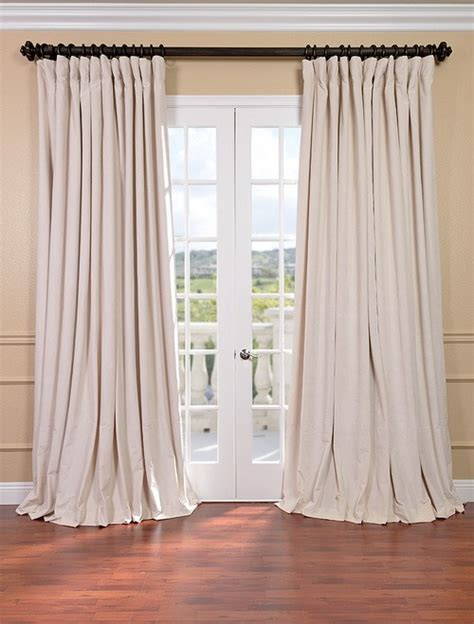 ivory velvet curtains signature ivory double wide velvet blackout pole pocket