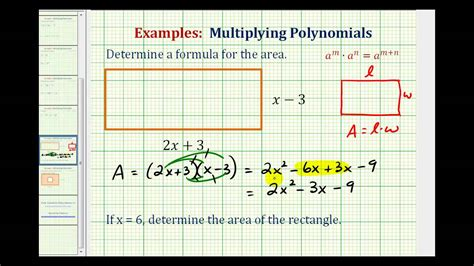 how to find area of a room ex find the area of a rectangle using a polynomial