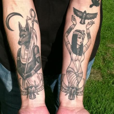 queen tattoo on forearm anubis and queen girl tattoos on both forearm