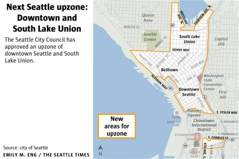 seattle map lake union taller buildings coming seattle council approves upzone