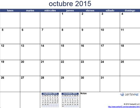 Calendario De Octubre 2015 Calendario 2015 Mes Por Mes Para Imprimir Universo Guia