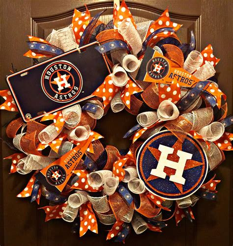 pack of 3 houston astros ornaments houston astros baseball mesh wreath rubyskreations wreaths craft and crafty