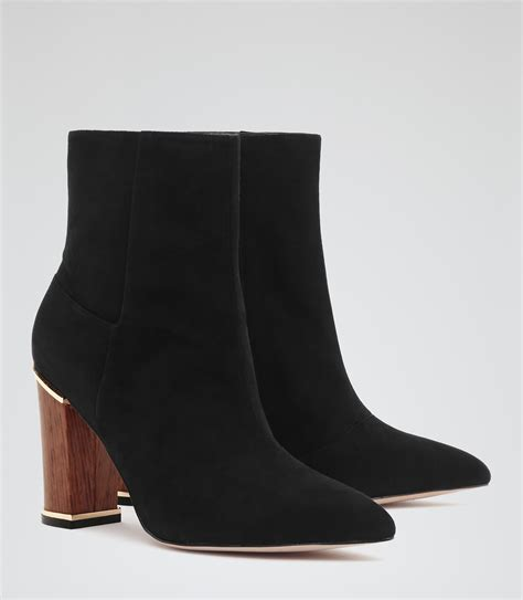 marley black wooden heel ankle boots reiss