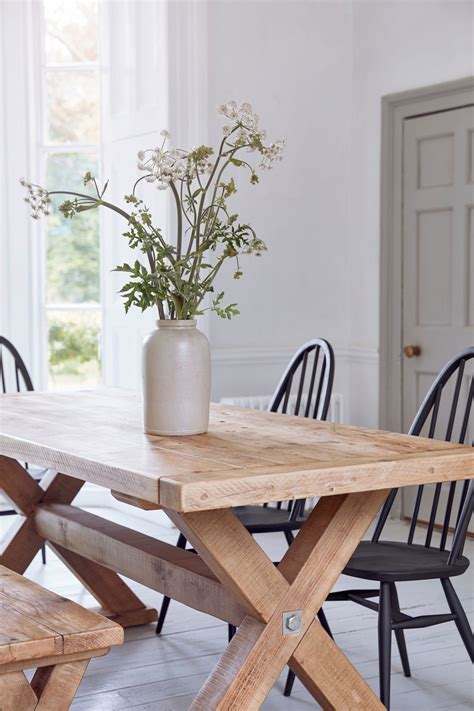 reclaimed wood plank trestle dining table home barn