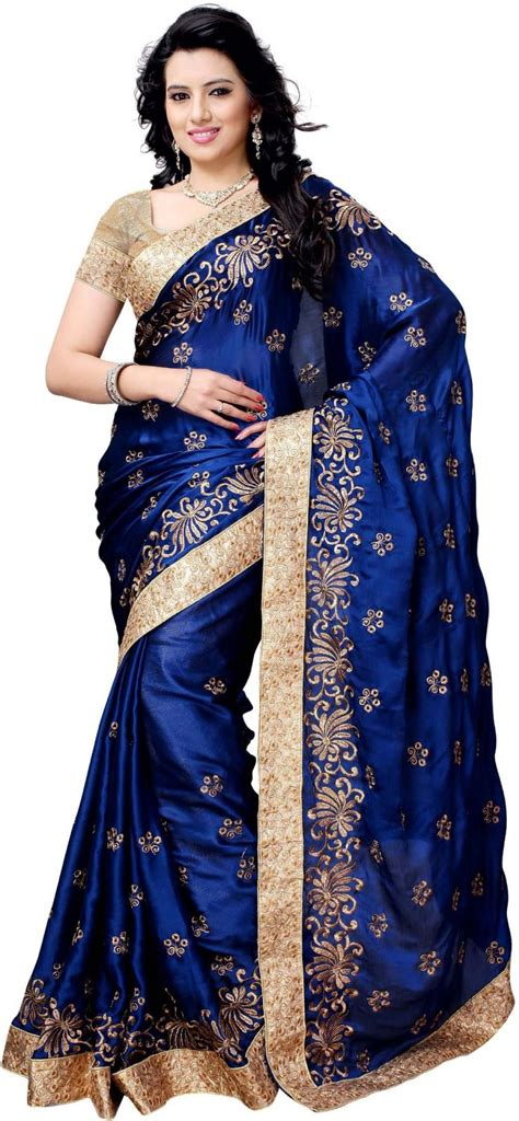 Sale Sari Kurma Almadinah Original flipkart 73 on four seasons embroidered fashion satin sari blue