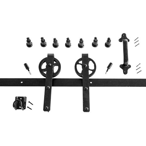 heavy duty black rolling barn door hardware kit