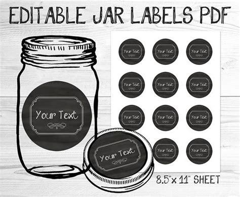 Items Similar To Pdf Editable Canning Jar Labels Printable Template Black Chalkboard On Etsy Canning Jar Label Templates