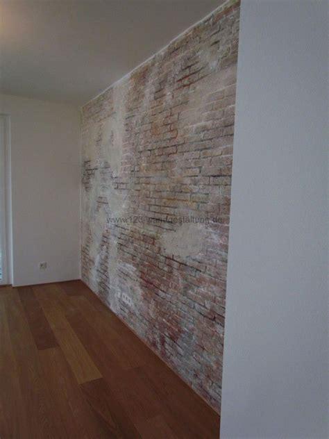 wände mit putz gestalten rustikale wandgestaltung in optik einer ziegelsteinoptik
