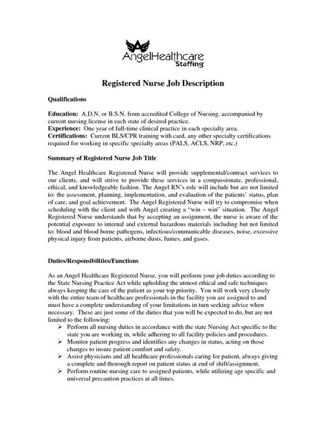 Resume Registered Description Sle Critical Care Resume Registered Information