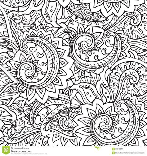 free doodle ornament seamless pattern with traditional vector floral