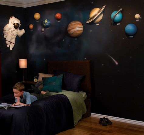 space bedroom stickers solar system with space astronaut 3d wall art decor by