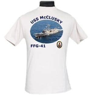 ffg 41 uss mcclusky 2 sided photo t shirt
