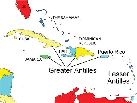 antilles islands map the caribbean