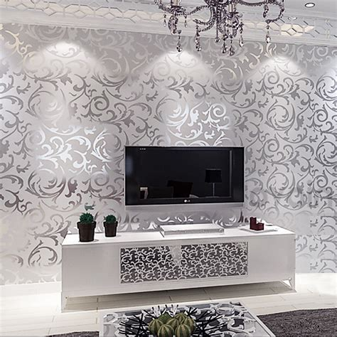 Design House Wallpaper Silver Damask Wallpaper Silver Leaf Scroll Background
