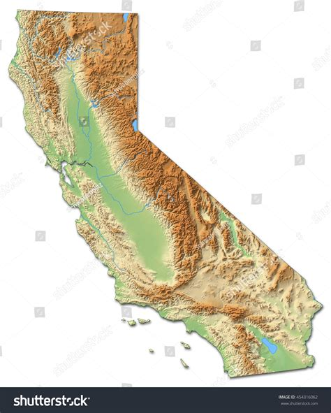 california map relief relief map california united states 3drendering stock