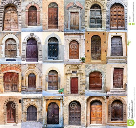 Italian House Plans by Old Door Collage Royalty Free Stock Photography Image