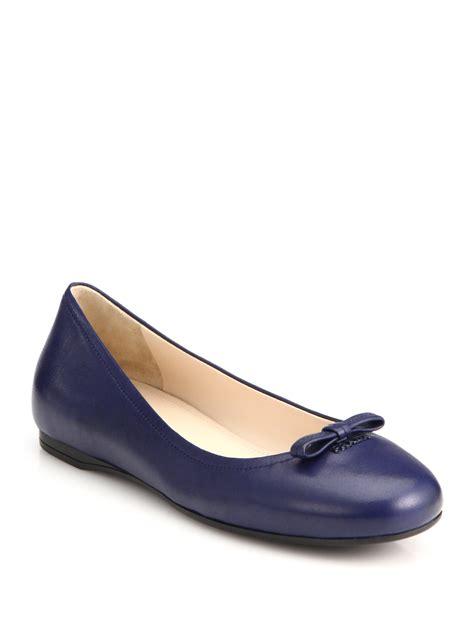 prada shoes flats prada bow ballet flats in black lyst