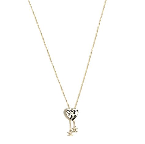 chanel enamel coco cc lariat necklace light gold 108583