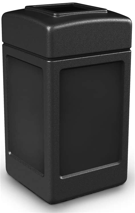 Commercial Trash Can   Brown Plastic & Steel