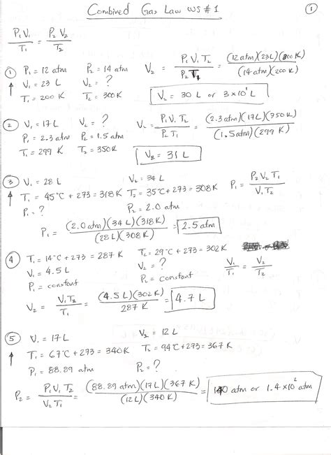 Mixed Gas Laws Worksheet Answers by Stemwaregudt Combined Gas Worksheet Answer