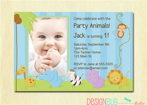 first birthday boy invitation baby jungle by designbugstudio