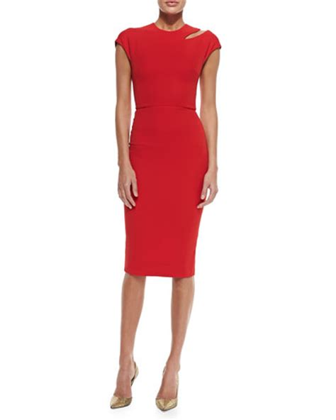 Beckham Sell Outs A Dress Before It Hits The Shop Floor by Beckham Cap Sleeve Sheath Dress With Cutout Shoulder