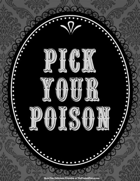 printable halloween decorations black and white halloween printable pick your poison printable decor