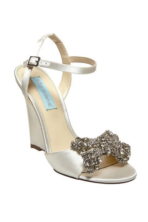 Blue Wedge Sandals Wedding by David S Bridal Wedding Bridesmaid Shoes Blue By Betsey
