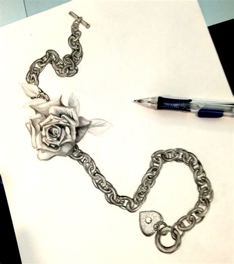 rose and chain tattoos and chain design by lucky978 on deviantart