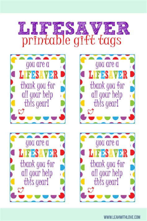 printable volunteer tags quot lifesaver quot gift tag printable gift free printables and