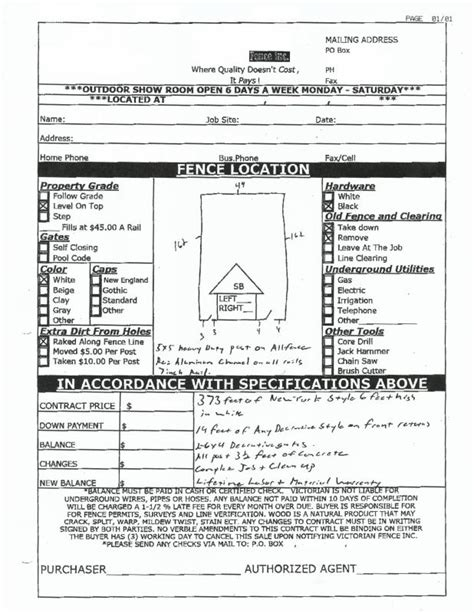 Fence Estimate Template Beneficialholdings Info Free Fence Contract Template