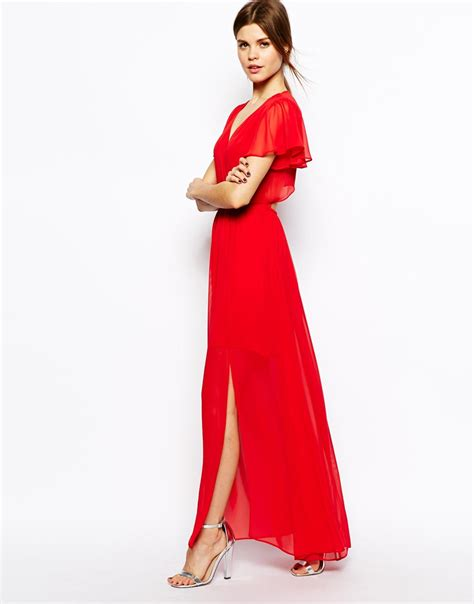 3 in 1 maxi lili lyst asos maxi dress with ruffle sleeve in