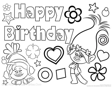 happy birthday sofia coloring pages trolls party